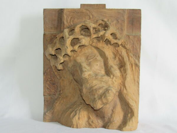 07f28 Antigua Escultura Madera Sculpte Cabeza Del Cristo Corona Arte Popular A Juego En Color