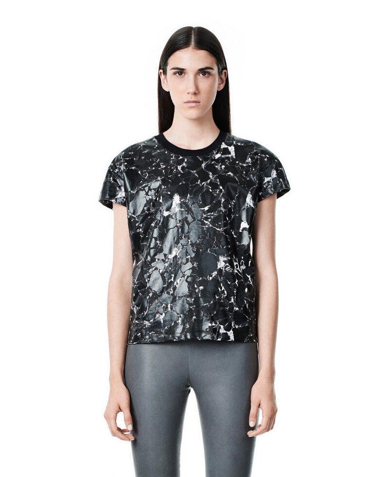 NWT  Balenciaga Marble Short Sleeve Top Tee Blouse Crackle [SZ XL]