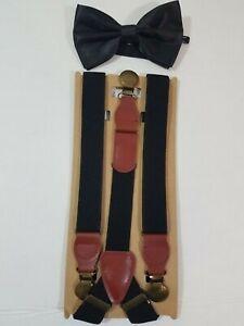 Black Faux Leather Bow Set