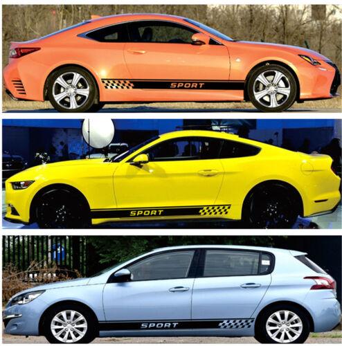 2Pcs Car Long Stripe Stylish Sport Graphics Both Side Body Vinyl Decal Sticker