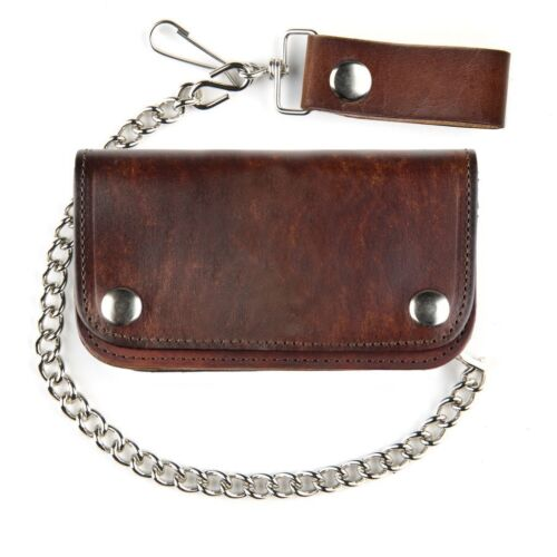 USA Made Bi-Fold Antique Brown Leather Chain Wallet  6Inch For Bikers
