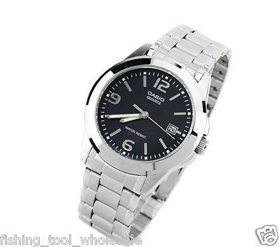 MTP-1215A-1A Black Casio Men's Watch Stainless Steel Analog Water Resistant New