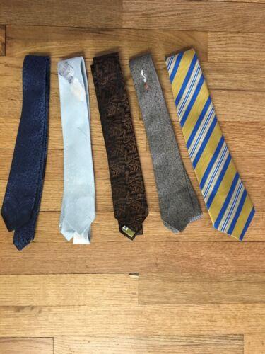 Vtg 50s 60s Retro Cool Skinny 5 Neck Tie Lot Silk