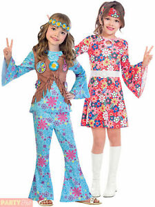San Francisco Girl 60/'s Hippie Flower Power Fancy Dress Halloween Child Costume