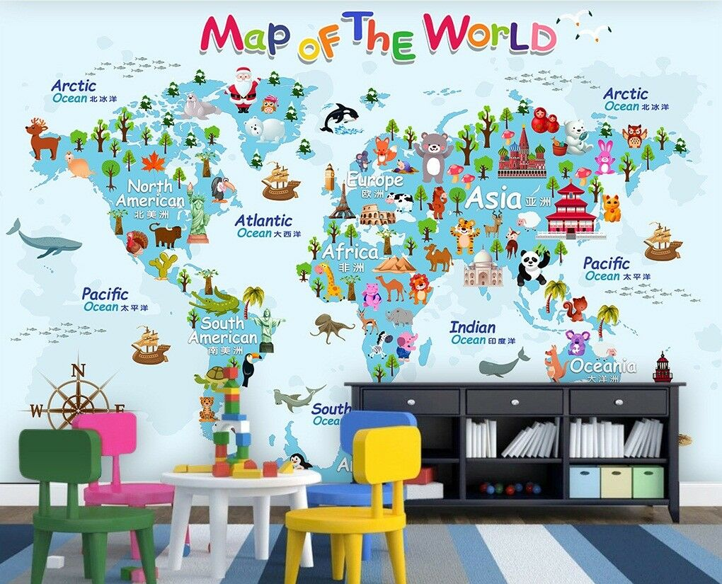 3D Animal World Map 9 Wall Paper Exclusive MXY Wallpaper Mural Decal Indoor Wall