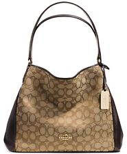 46889a6cedc9 COACH Edie Shoulder Bag 31 in Signature Jacquard shoulder bag Khaki Brown