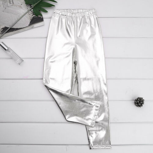Kids Girls Metallic Dance Leggings Pants Shiny Jazz Ballroom Crop Top Dancewear