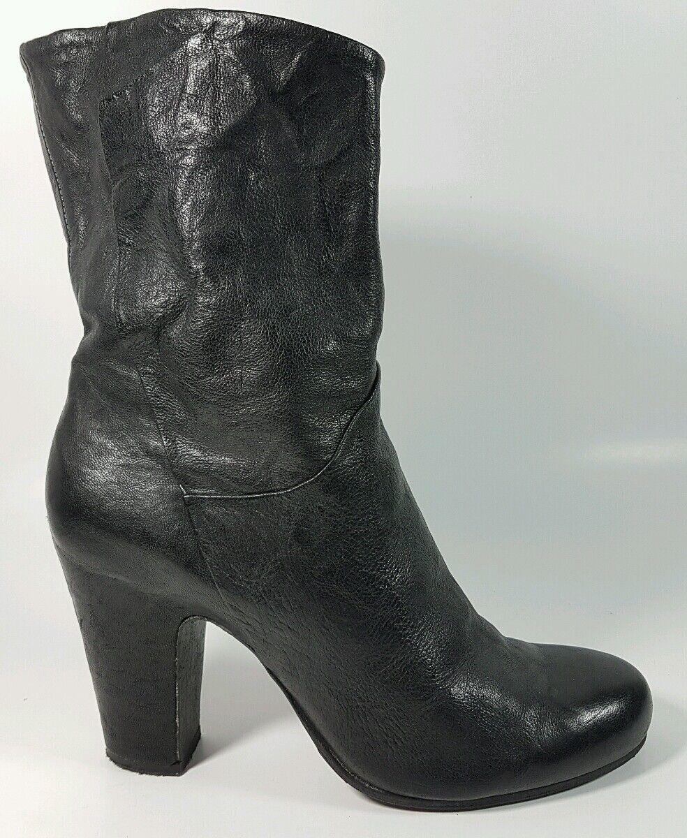 Latitude Femme black leather mid heel boots uk 7 eu 40