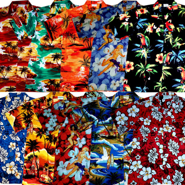 100% Verdadero Camisa Hawaiana 100% Algodón S - 8xl Hawaiiana Hawaian Camisas Playa Flores Surf Agradable En After-Taste