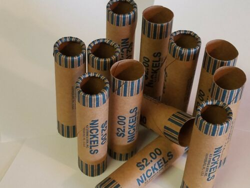 Pre-Crimped 1 End 12 Nickel Paper Coin Wrappers 5 Cent nickels Shotgun Rolls