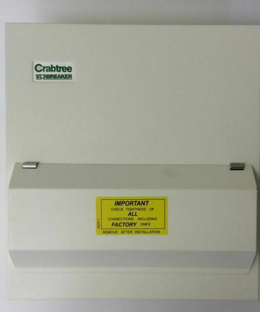 CRABTREE METAL CLAD CONSUMER UNIT 7 WAY C//W 100A MAIN SWITCH AND 6 RCBOS