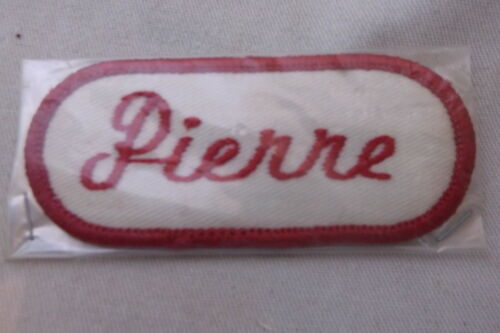 PIERRE USED EMBROIDERED VINTAGE SEW ON NAME PATCHES ASSORTED COLORS AVAILABLE