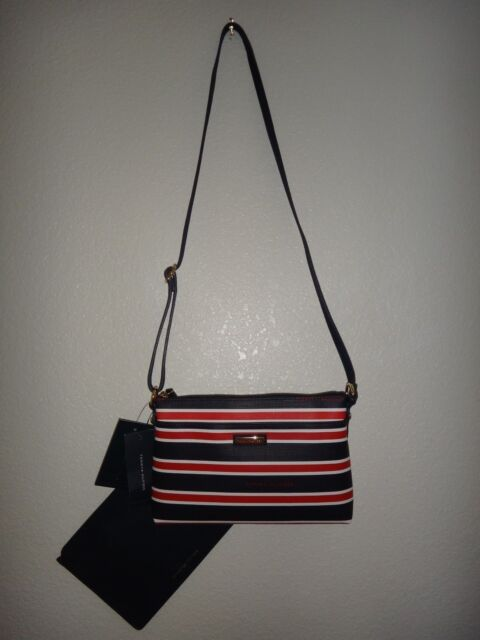 1153d731d7c TOMMY HILFIGER 2-PC Set Womens Crossbody Bag & Clutch Navy Blue PVC Red  Stripes