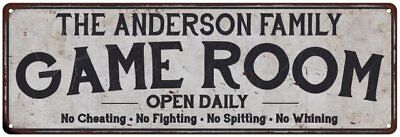 THE ANDERSON FAMILY Personalized Game Room Country Metal  Sign 106180042831