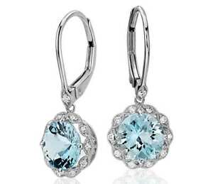 Vintage-Aquamarine-Wedding-Engagement-Drop-Dangle-Earrings-Silver-Jewelry-Gifts