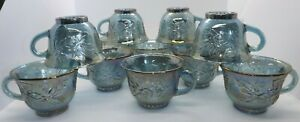 12-Vtg-Indiana-Harvest-Grape-w-Leaves-Carnival-Glass-Punch-Cups-Iridescent-Blue