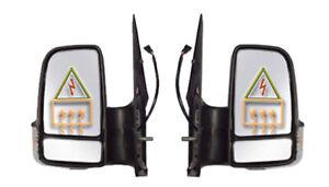 Fiat Ducato 2006-/> Door Mirror Electric Black Short Arm Pair Left /& Right