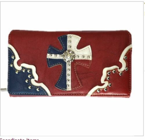 Women Trifold Western Wallet Cross Rhinestone Camouflage Zip inside Red