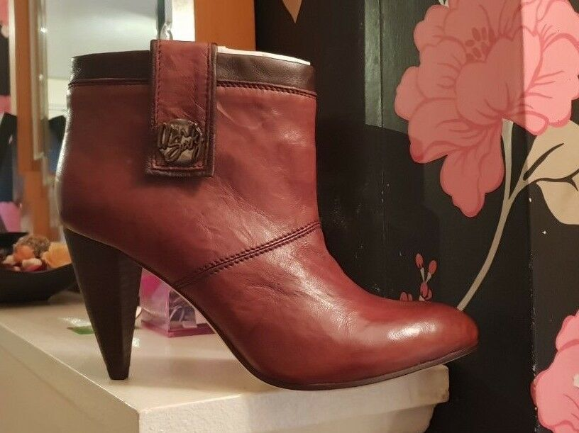 NEW Women Miss Sixty Solid Leather Brown Ankle Boots UK SIZE 6