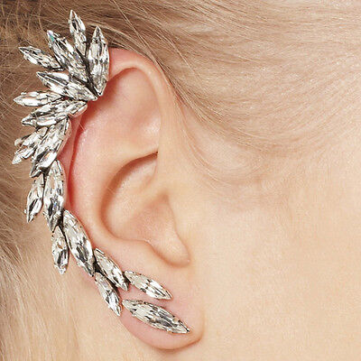 Gorgeous Silver Spike Crystal Gem Stone Flower Ear Cuff Stud Earring Punk Celebs