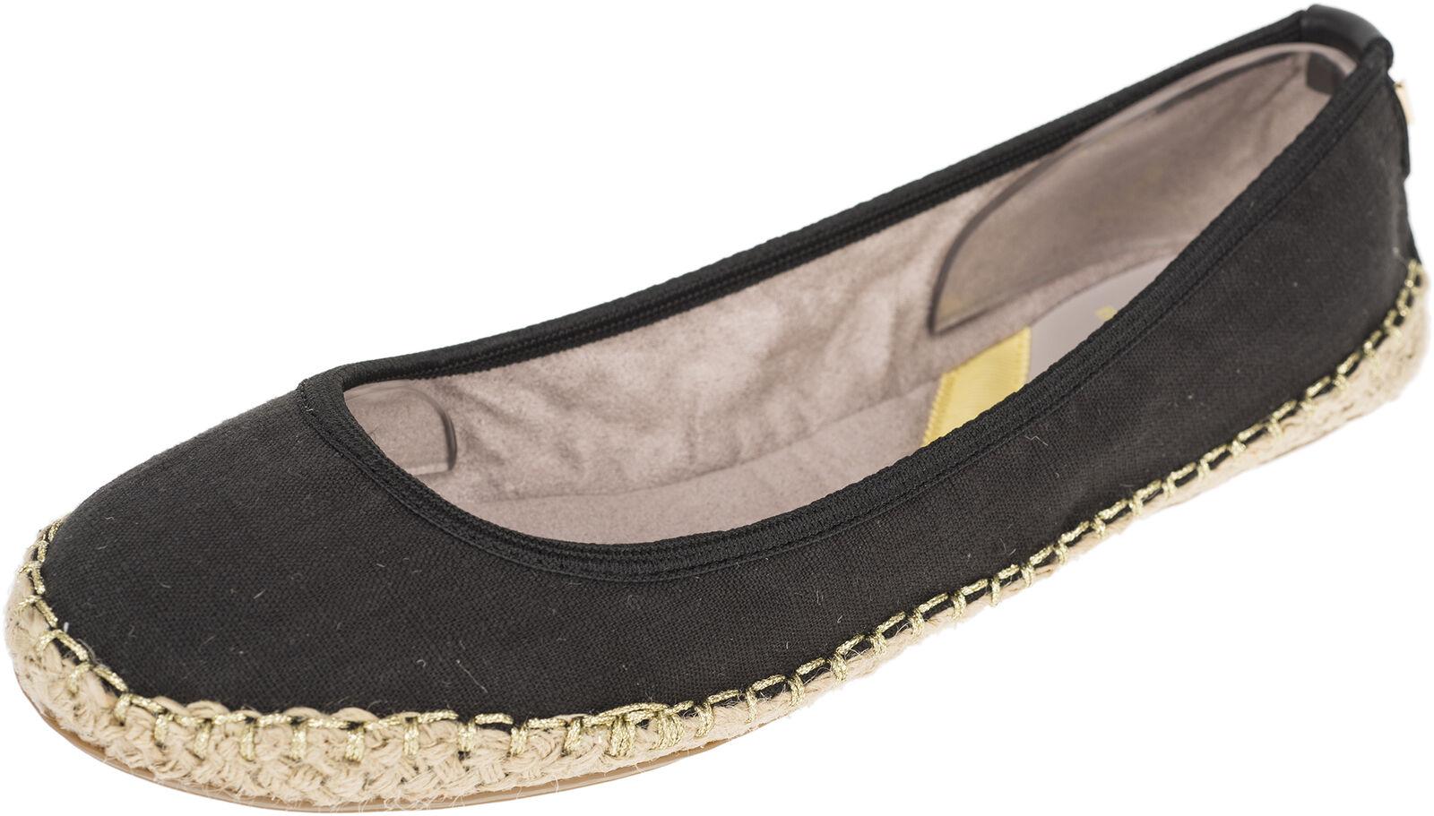 Los últimos zapatos de descuento para hombres y mujeres Descuento por tiempo limitado Butterfly Twists GIGI Basic BLACK LINEN Jute Trim Flats BALLERINAS Rockabilly
