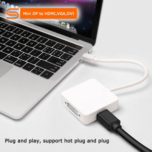 3 PCS Makibes Mini 1080P Mini DisplayPort  DP to VGA
