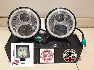 7-034-LED-Headlights-x2-Chrome-50W-E-Marked-UK-EU-Halo-Indicator-Free-LED-750AC