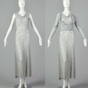 Details About Small 1930s Blue Lace Dress And Jacket Deco Dress Sheer Sleeveless 30s Formal