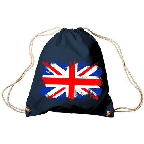 Trend-Bag Turnbeutel Sportbeutel Rucksack Print Flagge Grossbritannien 653 navy