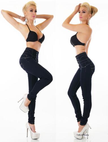 Da Donna Vita Alta Elasticizzato Skinny Jeans Pantaloni da donna blu Taglia 8-14