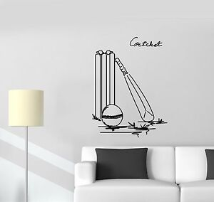 Image Is Loading Wall Decal Cricket Golf Ball Bat Win
