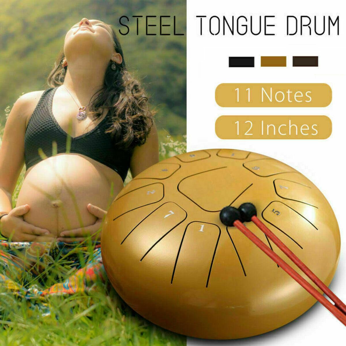 12'' Steel Tongue Drum G Tune 11 Notes Handpan Hand Tankdrum Mallets Yoga + Bag