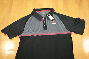 Ektelon TEAM POLO T-SHIRT DRY-FIT BLACK/RED/GREY SIZE MENS M MEDIUM