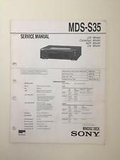 Sony MDS-S35 Service Manual (original Document Not Copy Or PDF)