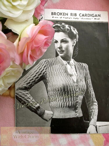Vintage 40s Knitting Pattern Lady/'s Cardigan In Broken Diagonal Rib 33-36In Bust