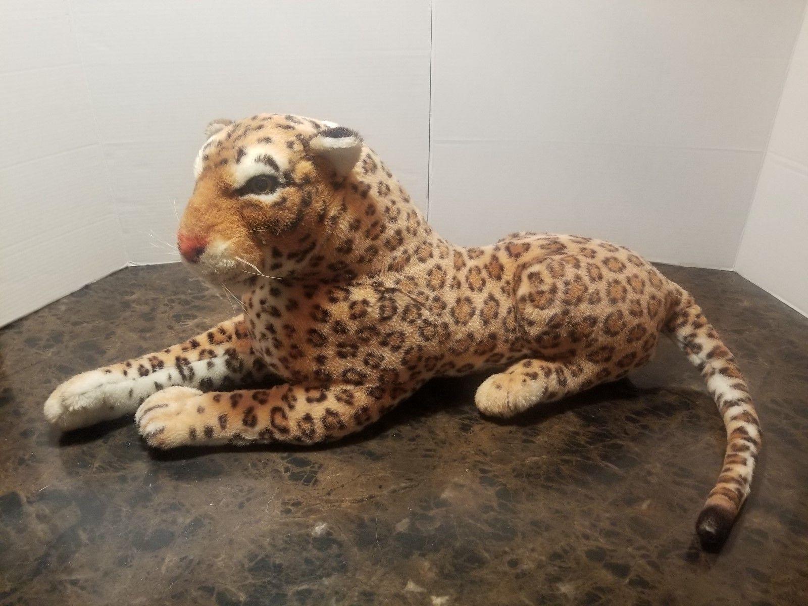 """Realistic Jumbo Large 41"""" Lying Leopard Jaguar Plush EUC"""