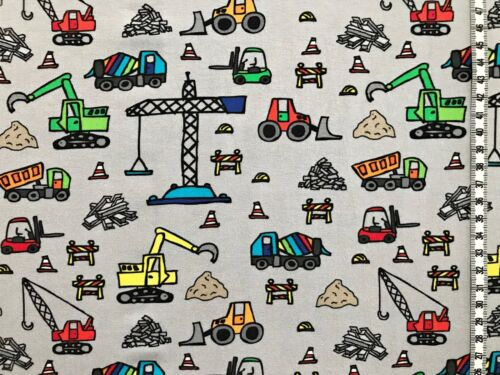 "Jersey /"" diverse Baustellenfahrzeuge /"" grau Kinderstoff"