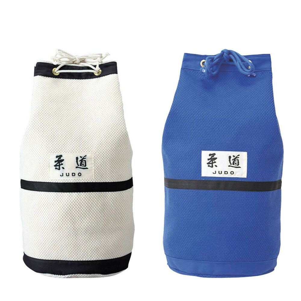 KUSAKURA Judo Bag Round Drawstring Big Durable Bag White bluee