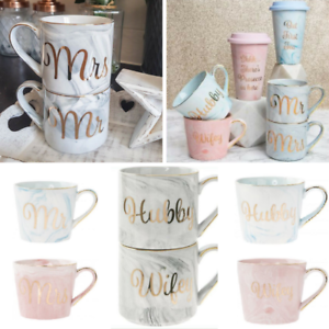 Set Of 2 Mugs Hubby Wifey Mr And Mrs Wedding Present Tea Coffee Mug Cup Gift