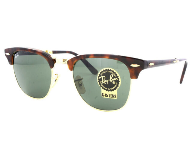 bc09f18e75f25 New Ray Ban Folding Clubmaster RB2176 990 Red Havana w Green G-15 51mm