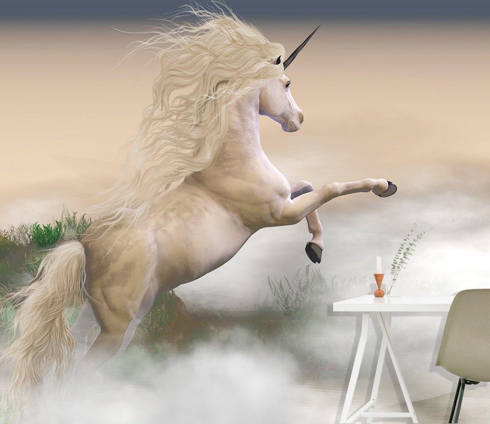 3D Misty Meadow Unicorn 3 Wallpaper Mural Print Wall Indoor Wallpaper Murals UK