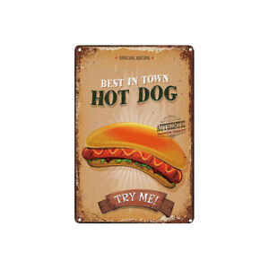 Metal Tin Sign enjoy our hotdogs Decor Bar Pub Home Vintage Retro Poster Cafe