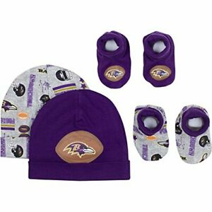5a0828fc Details about Gerber NFL Baltimore Ravens Baby Caps and Booties Set, 0-6  Months