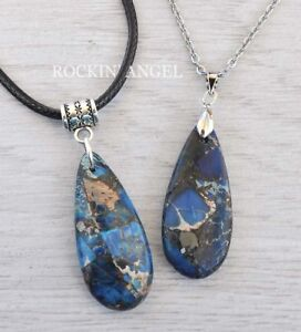 Blue-Sea-Sediment-Jasper-amp-Pyrite-Pendant-on-Chain-or-Cord-Necklace-Ladies