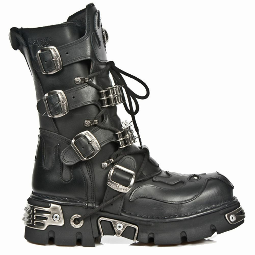 NEWROCK New Rock 1036-S1 Black Skull Devil Gothic Biker Boot Leather Boots shoes