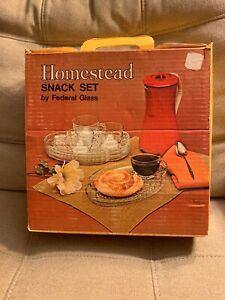 Vintage-New-1950s-4-Pc-Homestead-Snack-Set-By-Federal-Glass-Company-NIB