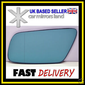 Right side for Audi A8 1999-2002 heated Blue wing door mirror glass
