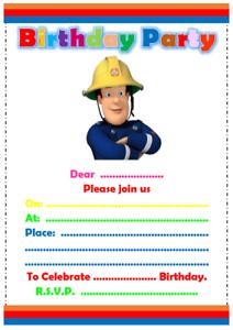 Fireman Sam Birthday Party Invitations Invites Kids Party Ebay