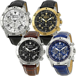 Invicta-Signature-II-Chronograph-Leather-Mens-Watch-Blue-Gold-Silver-Black