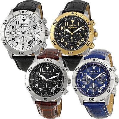 Invicta Signature II Chronograph Leather Mens Watch | Blue/Gold/Silver/Black